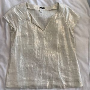 J. Crew sparkly white top with pockets